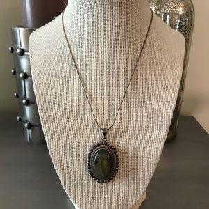 Silver 925 Green Stone Pendant Necklace
